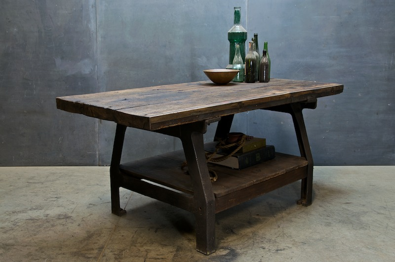 Superb Industrial Boatyard Cast Iron Work Table