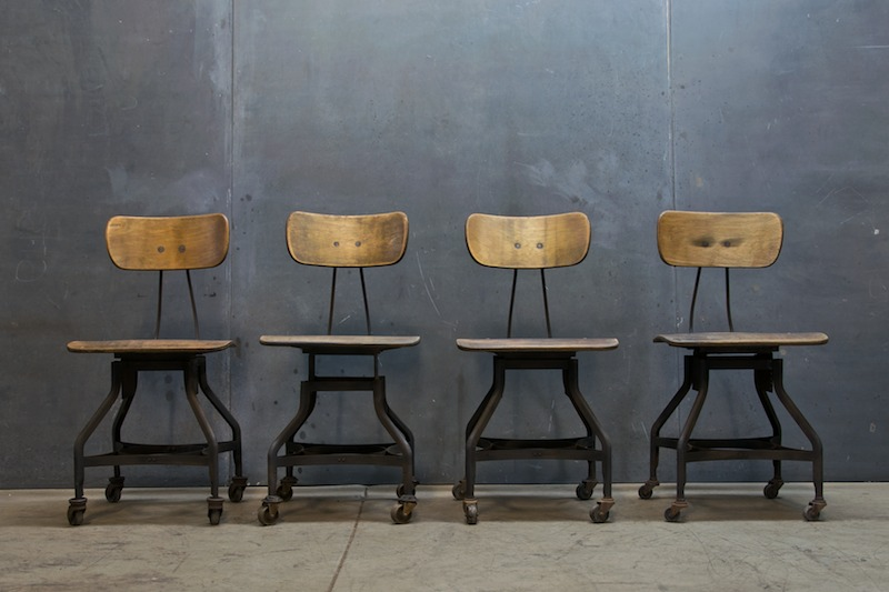 Charming Vintage Toledo Industrial Drafting Chairs | Modern 50 Artist Collective  Non Linear Vintage Collection