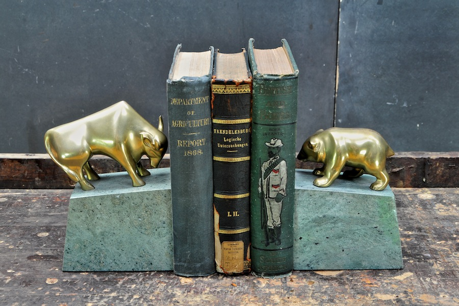 Bear Bull Brass Marble Bookends