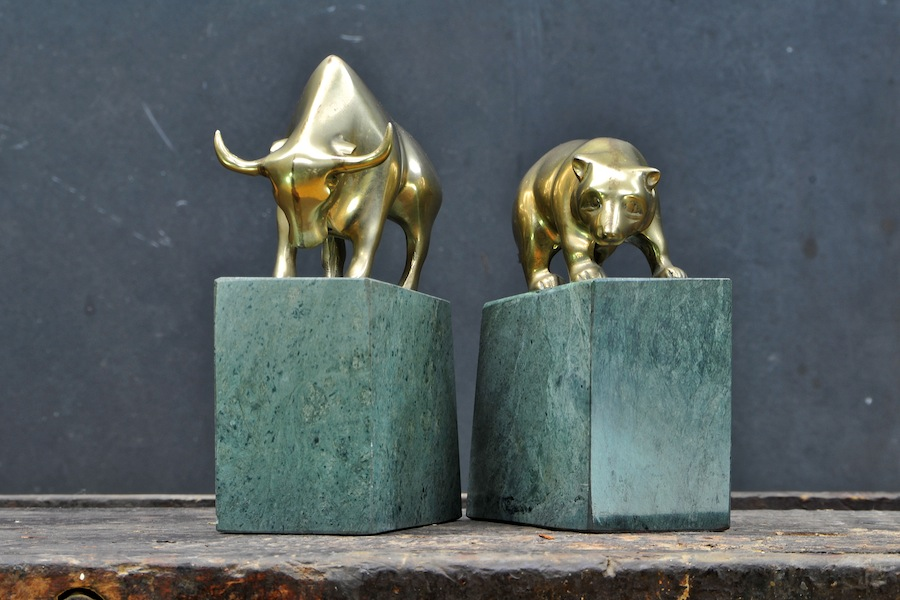 Bear Bull Brass Marble Bookends