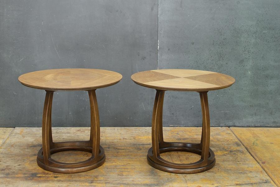 Vintage Mid Century Adrian Pearsall Style Walnut Drum Side Tables