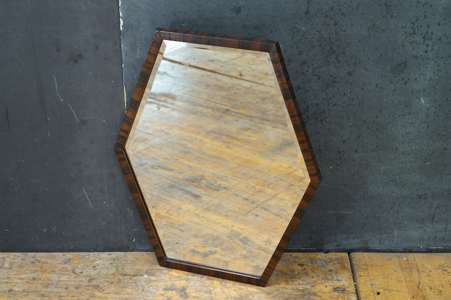 1920s Rare Optical Hexagon French Art Deco Wall Mirror Modern50
