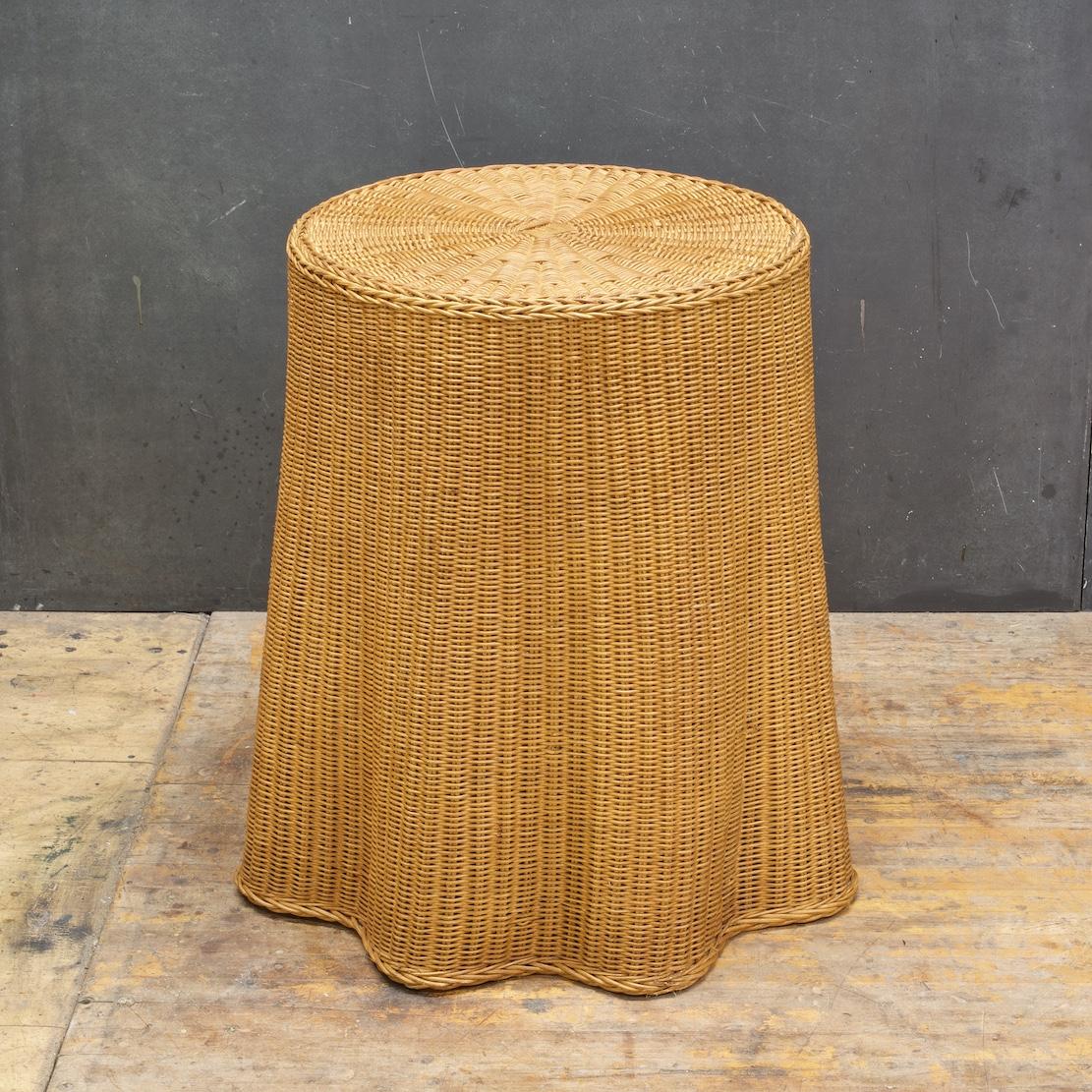 Trompe Lu0027oeil Vintage Rattan Draped Wicker Ghost Round Table Pedestal Rare