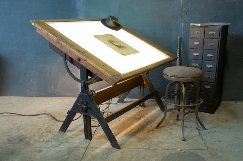 1920s Industrial Oak Iron Drafting Table Modern50 Mod50